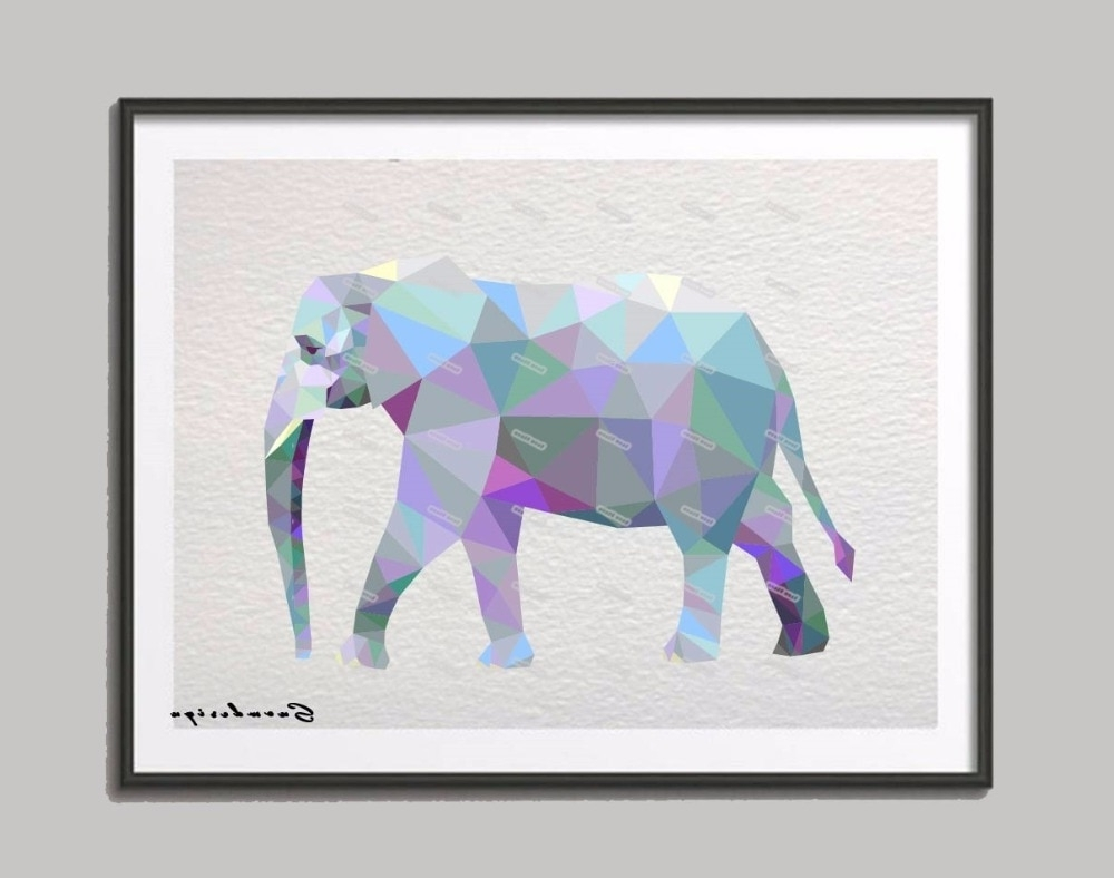 Well Known Elephant Canvas Wall Art In Low Poly Modern Geometric Elephant Canvas Painting Wall Art Print (View 15 of 15)