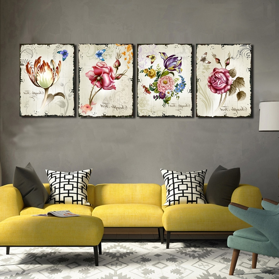 Well Known Floral Wall Art In 4 Pieces Classic Floral Wall Art Canvas Prints Flower Combination (View 5 of 15)