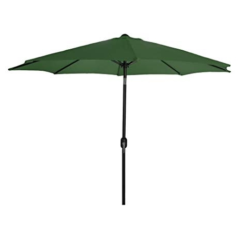 Well Known Green Patio Umbrellas In Amazon : 9' Steel Market Umbrella In Green – : Patio Umbrellas (View 7 of 15)
