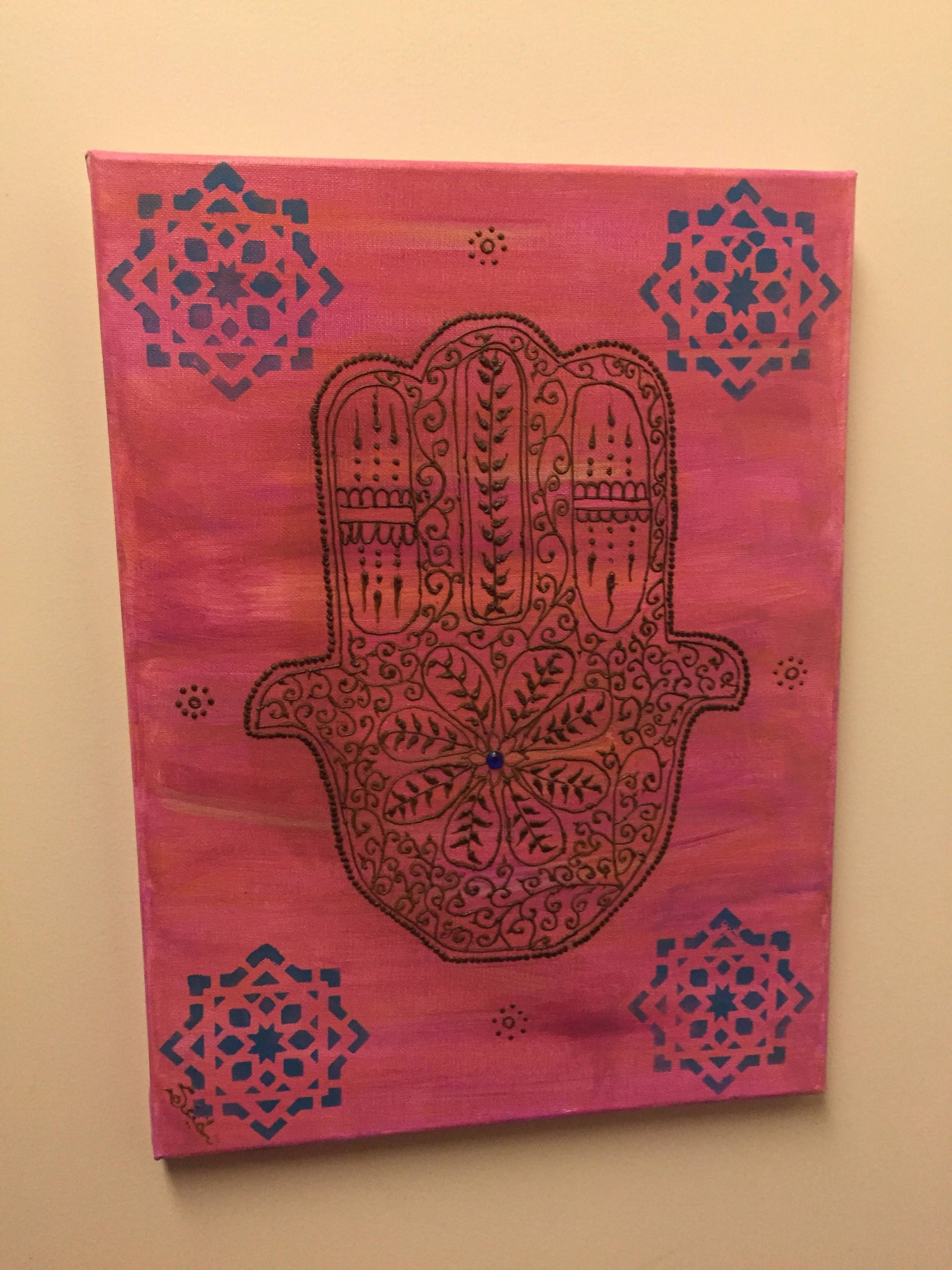 """Well Known Henna Wall Art For Moroccan Hamsa Wall Art, Moroccan Art, Henna Wall Art, """"henna Art (View 4 of 15)"""