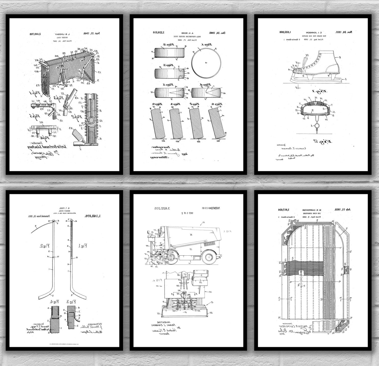 Well Known Hockey Wall Art Intended For Ice Hockey Patent Print Set Of 6, Hockey Patent Prints, Hockey (View 12 of 15)