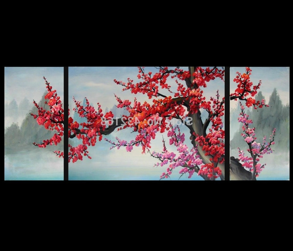 Well Known Japanese Wall Art Regarding Japanese Cherry Blossom Abstract Art Paintings Modern Wall Art Decor (View 4 of 15)