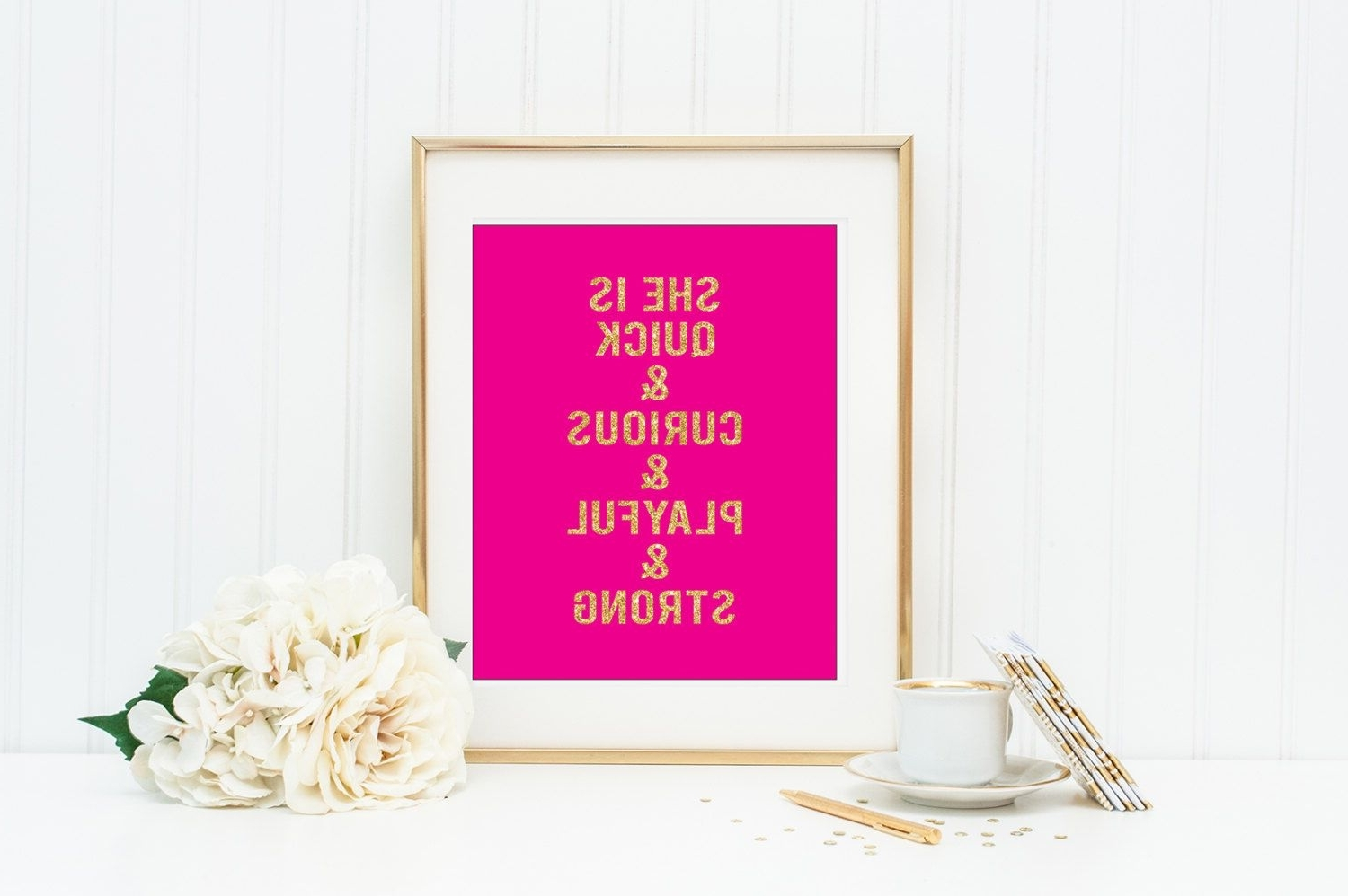 Well Known Kate Spade Wall Art Intended For She Is Quick And Curious Kate Spade Quote Pink And Gold Wall Art (View 15 of 15)