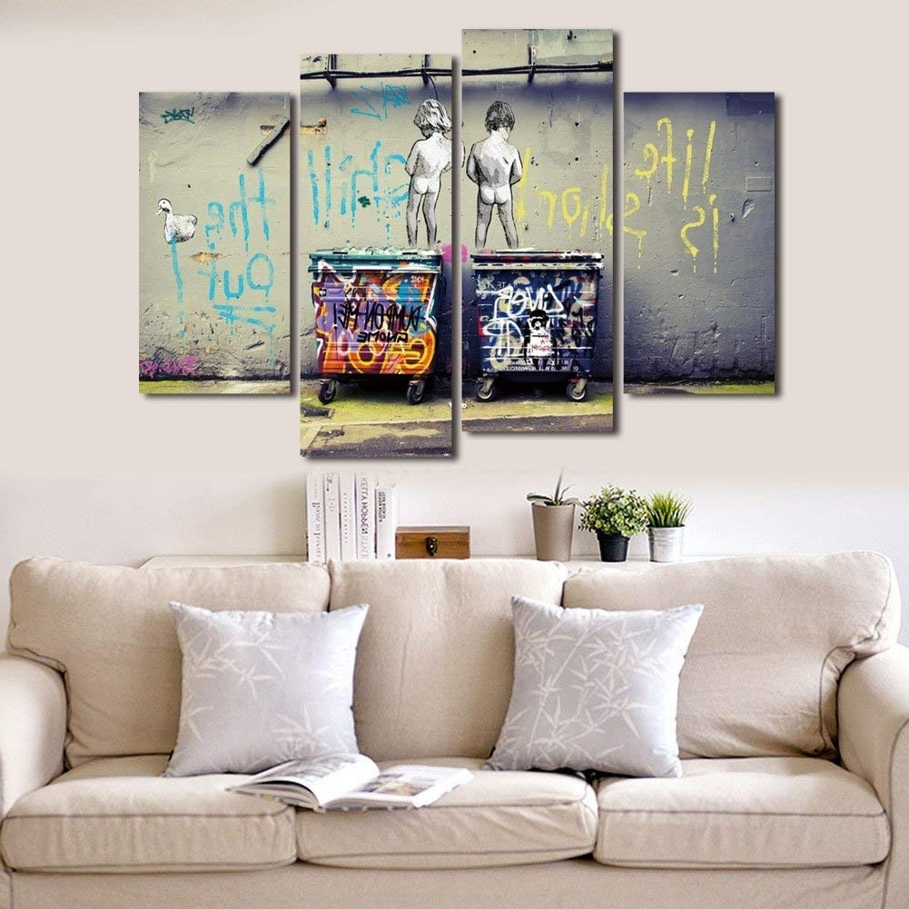 """Well Known Large Contemporary Wall Art For Wonzom Large Banksy Canvas Prints """"seize The Day"""" Modern Wall Art (View 13 of 15)"""