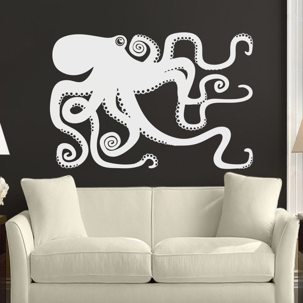 Well Known Large Octopus Decal Ocean Wall Decor Sea Octopus Wall Art Bathroom Intended For Octopus Wall Art (View 15 of 15)