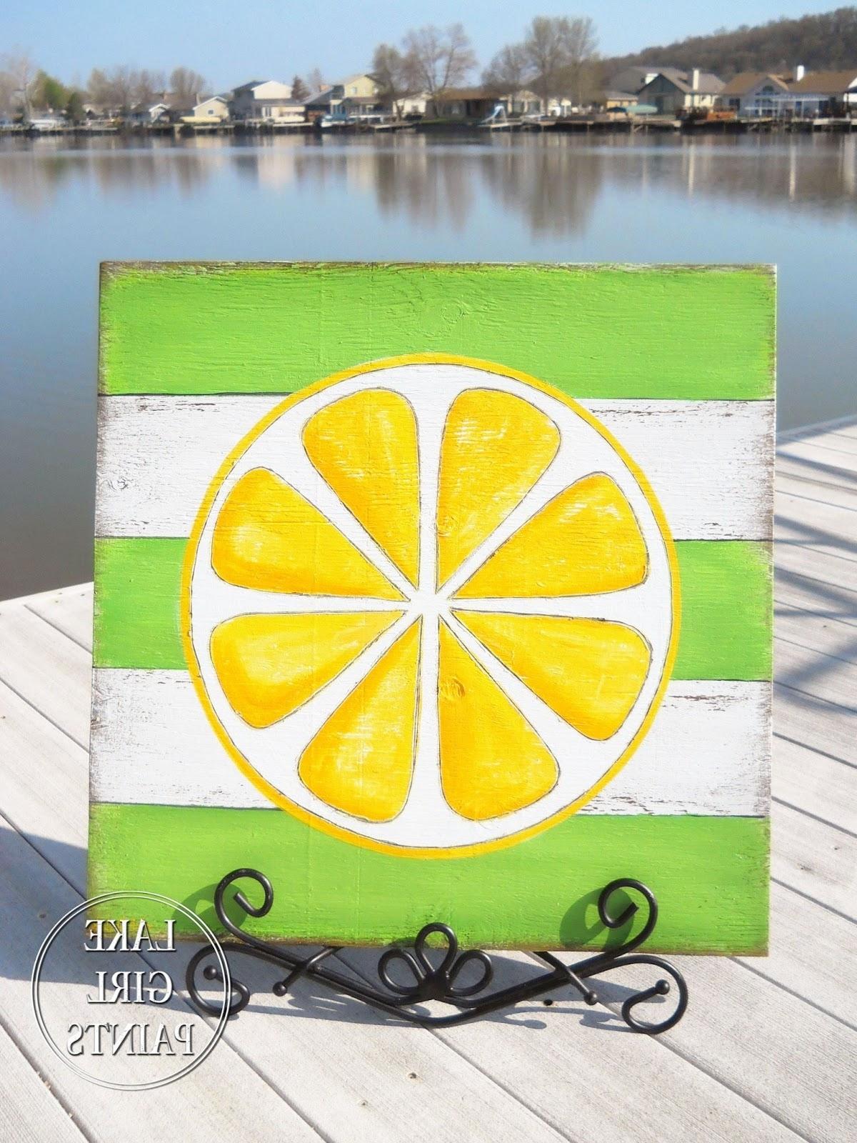 Well Known Lemon Wall Art Regarding Lake Girl Paints: Diy Wall Art – Citrus Stripes (View 7 of 15)