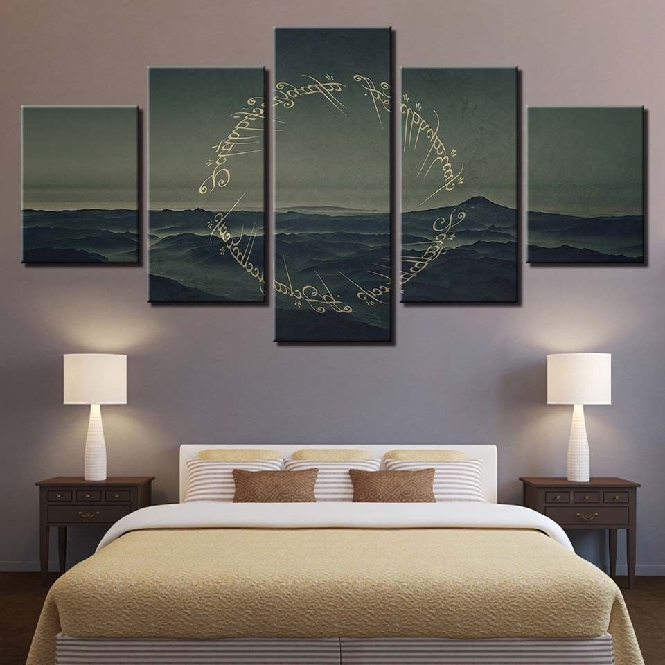 Well Known Lord Of The Rings Wall Art Throughout Framed 5 Pcs Ring Lord Of The Rings Painting Printed, Lord Of The (View 15 of 15)