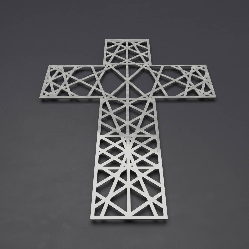Well Known Modern Metal Wall Cross Sculpture, Large Wall Cross, Christian Home With Regard To Modern Metal Wall Art (View 13 of 15)
