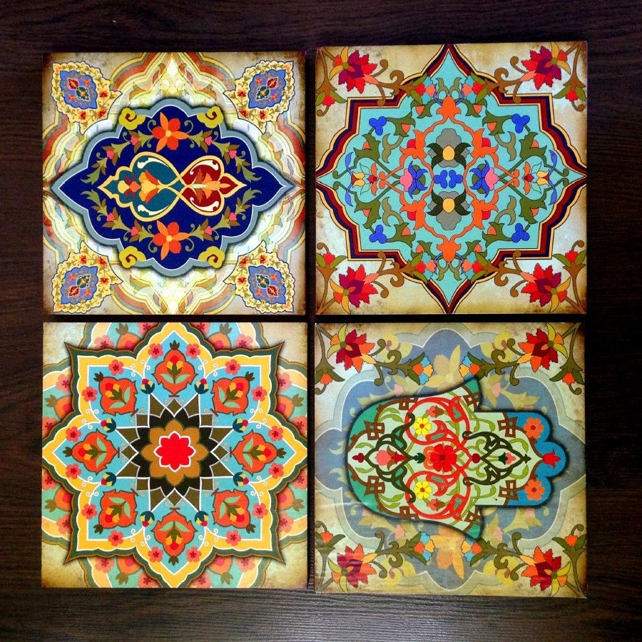 Well Known Moroccan Wall Art For Hamsa Hand Moroccan Wall Art Set Wooden Blocks 8X8 Set Of 4 Best (View 15 of 15)