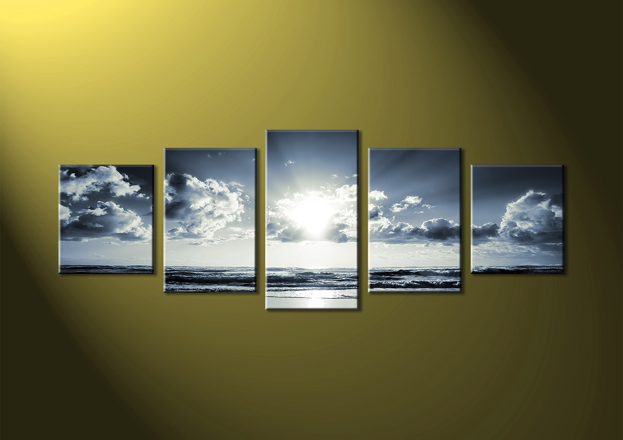 Well Known Multi Piece Wall Art, Piece Brown Canvas Ocean Wall Art, Piece Throughout Multi Piece Wall Art (View 6 of 15)