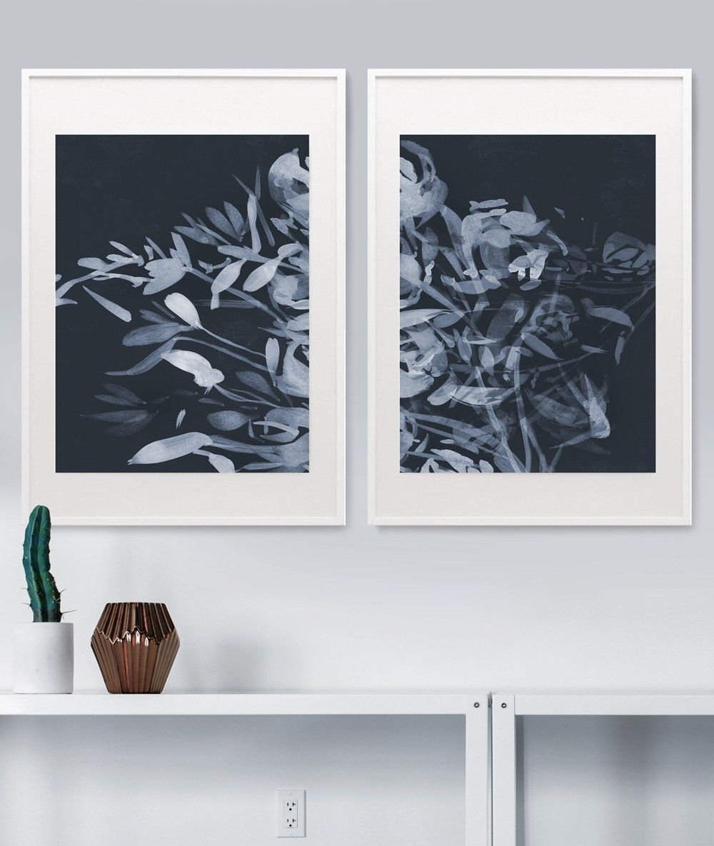 Well Known Navy Blue Wall Art Regarding Set Of 2 Prints, Abstract Art Prints, Floral Art Print Set (View 11 of 15)
