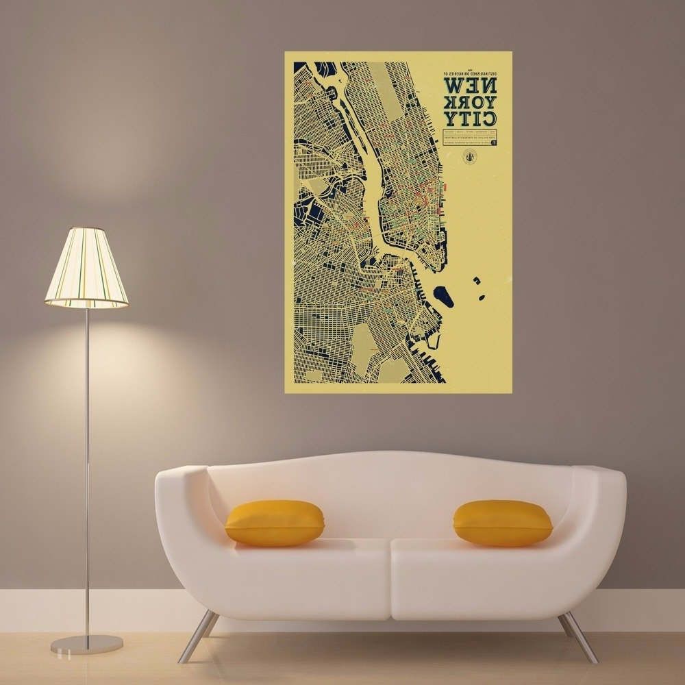 Well Known New York City Map Wall Art In New York City Map Canvas Art Print Painting Poster Wall Pictures For (View 14 of 15)