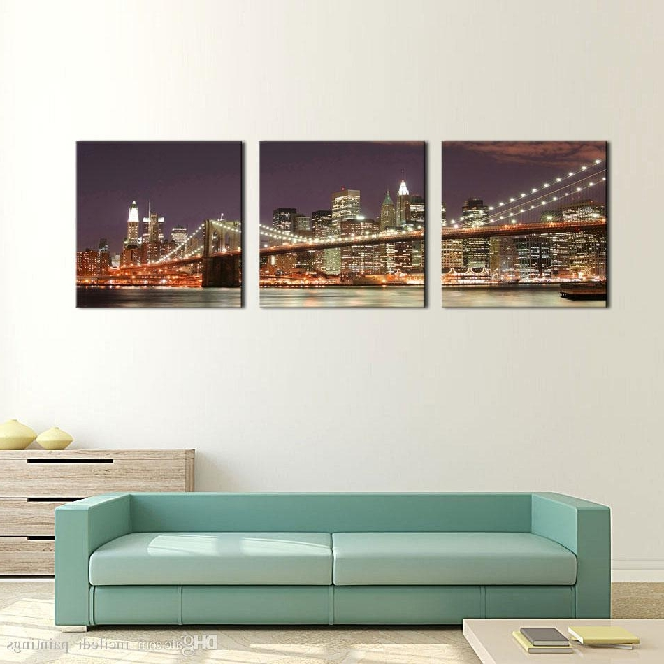 Well Known New York City Wall Art With Discount 3 Panel Wall Art Blue Brooklyn Bridge And Manhattan Skyline (View 12 of 15)