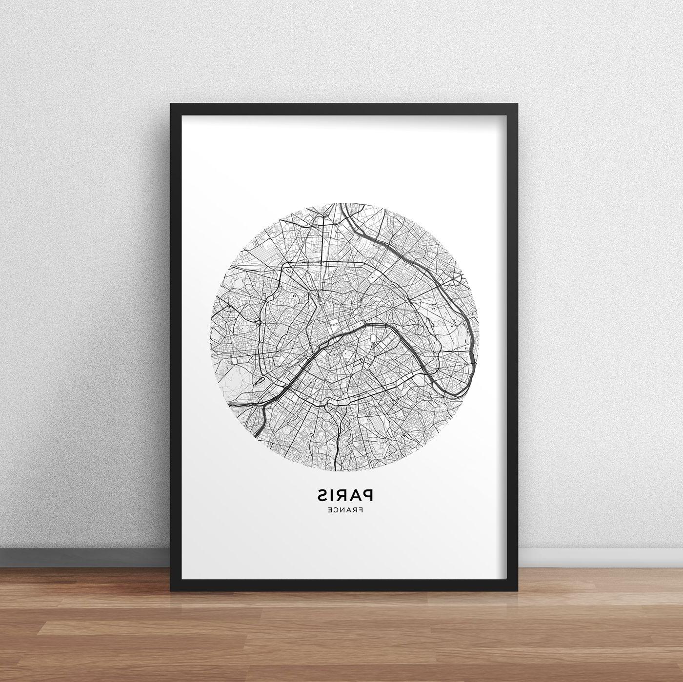 Well Known Paris Map Print, Paris Map Download, Circle City Map Paris, Paris Within Map Of Paris Wall Art (View 15 of 15)