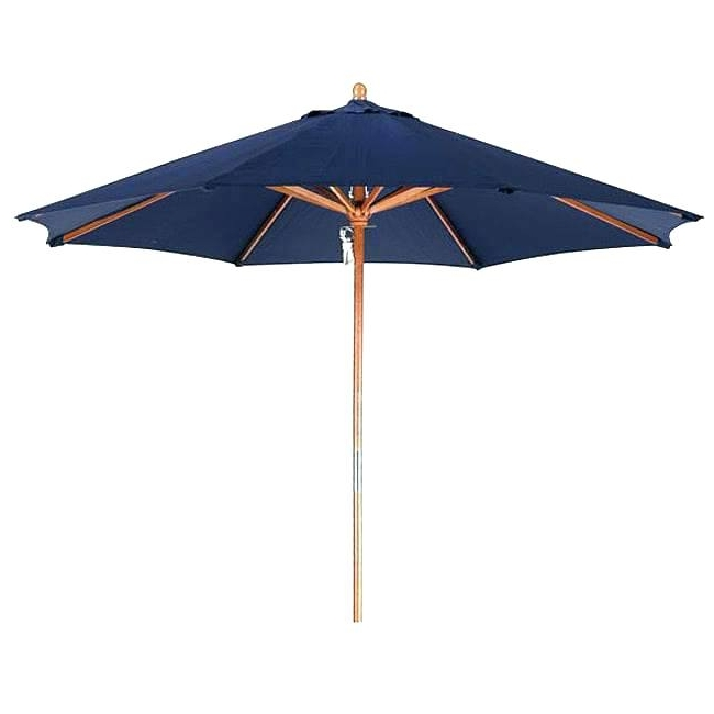 Well Known Patio Umbrellas With White Pole In Patio Umbrella With White Pole Blue Navy Company Premium 9 Foot Wood (View 15 of 15)