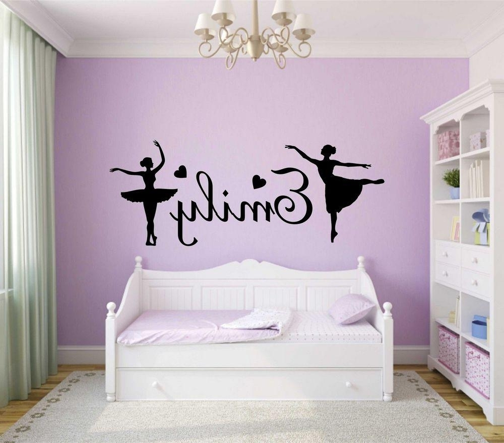 Well Known Personalised Girls Name Wall Art Sticker Ballerina Vinyl Decal Home Regarding Name Wall Art (View 12 of 15)