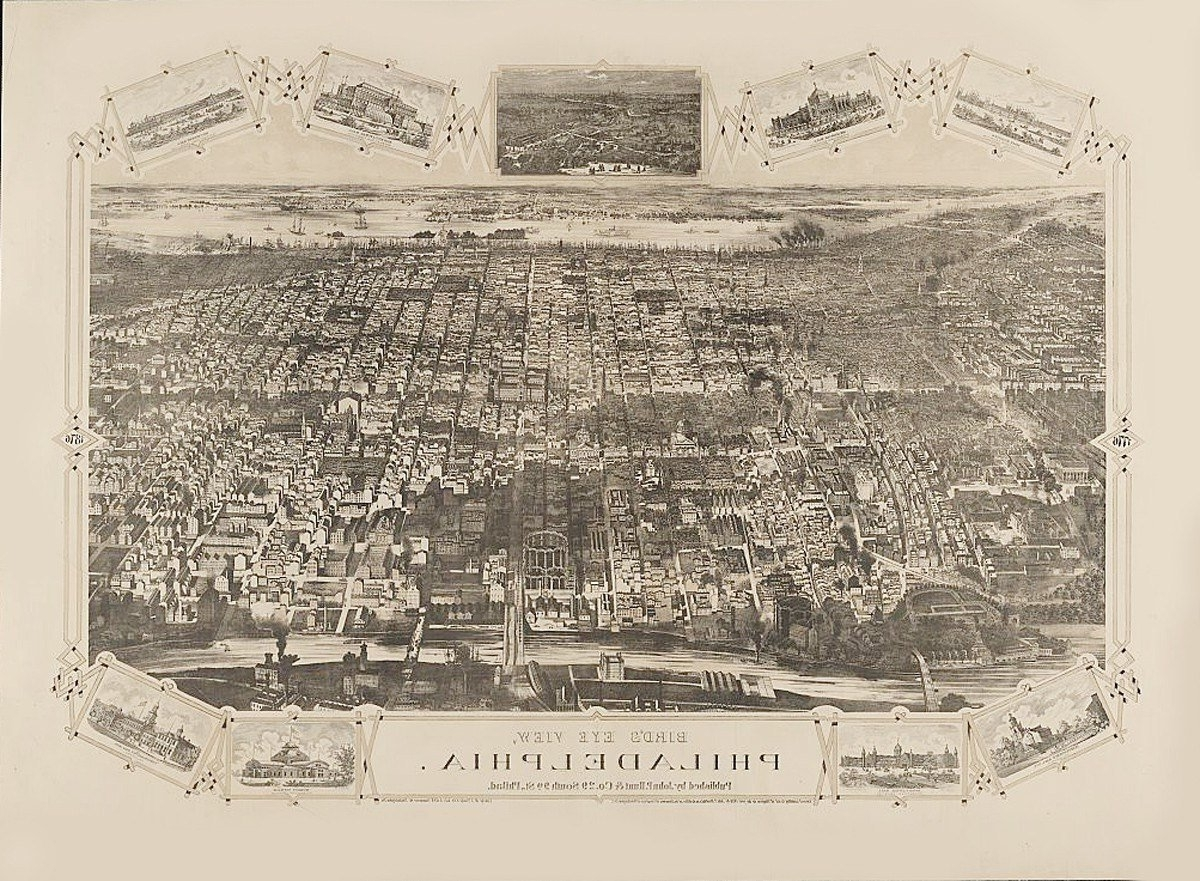 Well Known Philadelphia Map Wall Art Intended For Vintage Map Philadelphia Pennsylvania  (View 15 of 15)