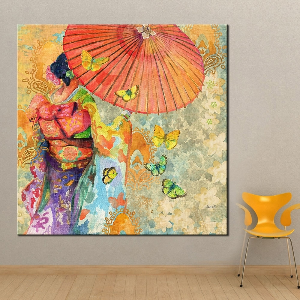 Well Known Qkart Wall Art Japanese Kimono Oil Painting On Canvas Wall Picture Intended For Japanese Wall Art (View 11 of 15)