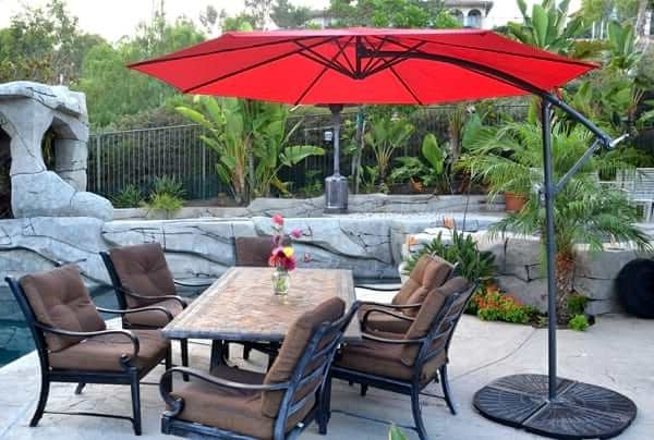 Well Known Red Patio Umbrellas In Offset Patio Umbrella – Red 10' Roundquality Patio Umbrellas, Market (View 13 of 15)