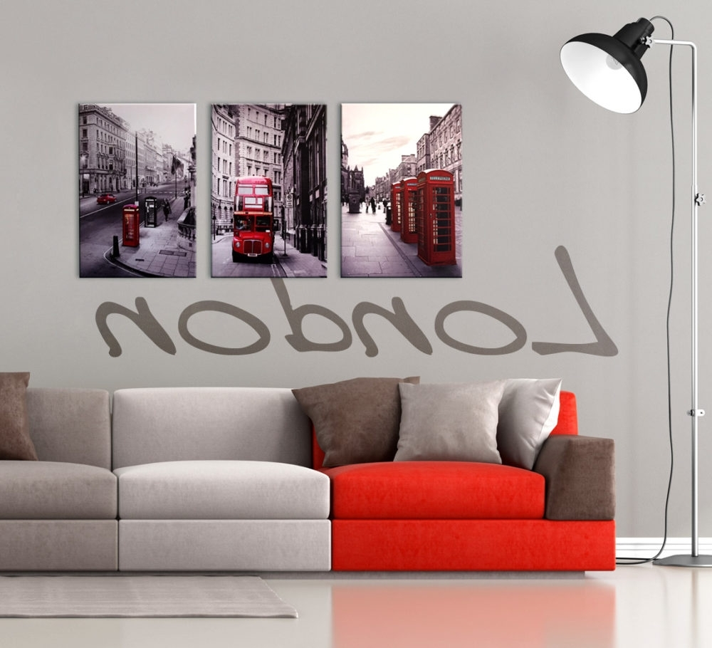 Well Known Red Wall Art Within London Cityscape 3 Piece Printed Wall Art (View 9 of 15)