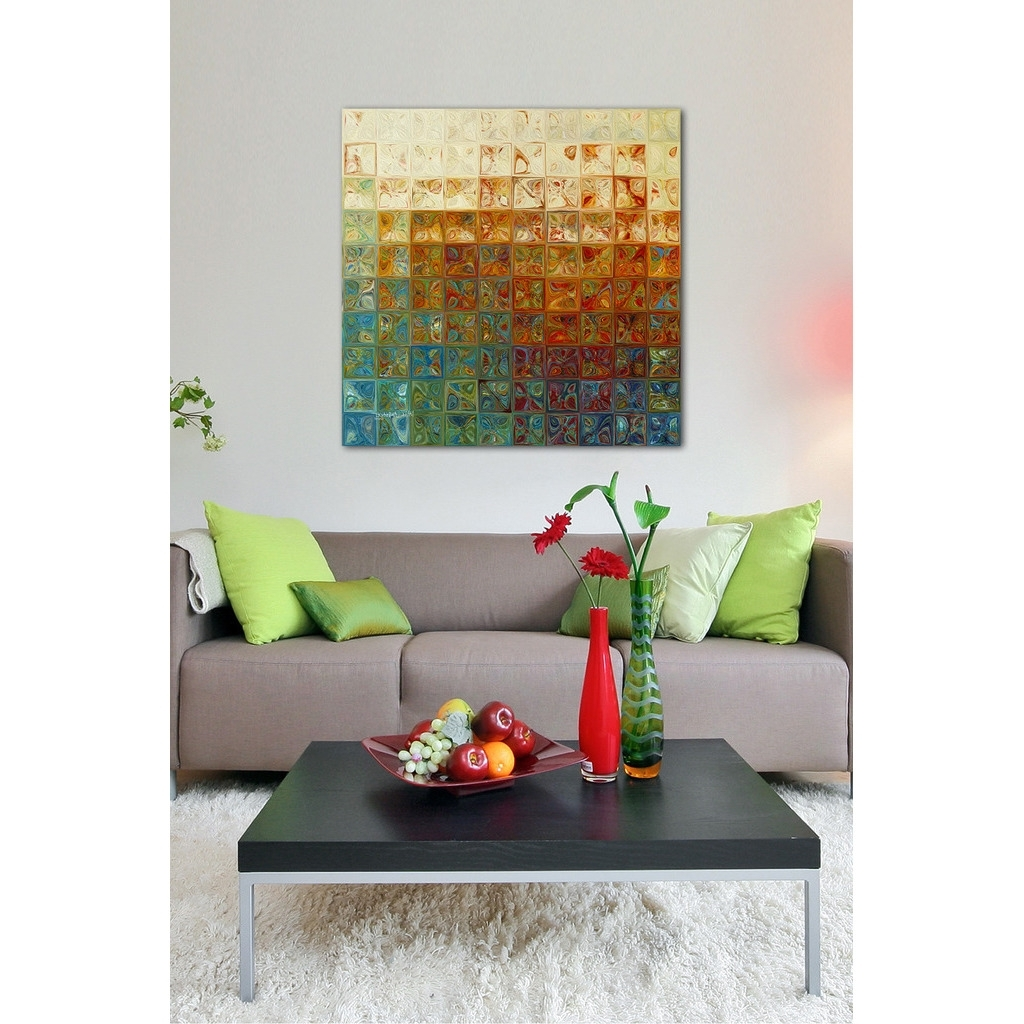 Well Known Shop Mark Lawrence 'modern Mosaic Tile Wall Art #2, 2015' Giclee In Tile Canvas Wall Art (View 8 of 15)