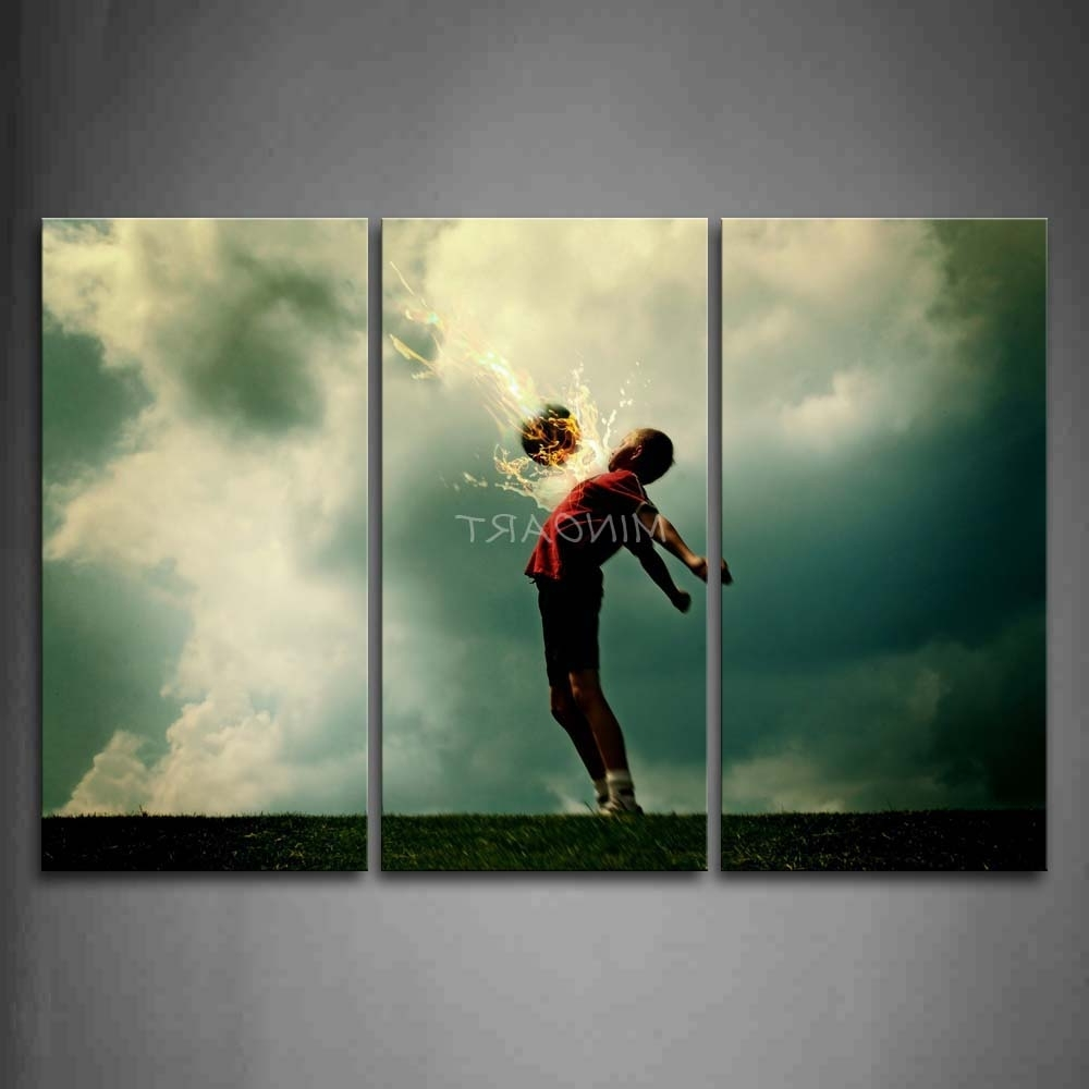 Well Known Soccer Wall Art Within 3 Piece Wall Art Painting A Kid And Soccer Surroundedfire (View 13 of 15)