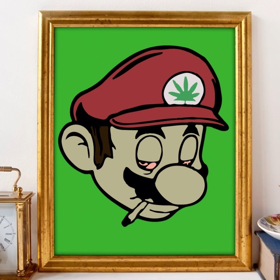 Well Known Stoner Mario, Gamer Art, Nintendo Art, Marijuana Art, Cannabis Art Inside Nintendo Wall Art (View 9 of 15)