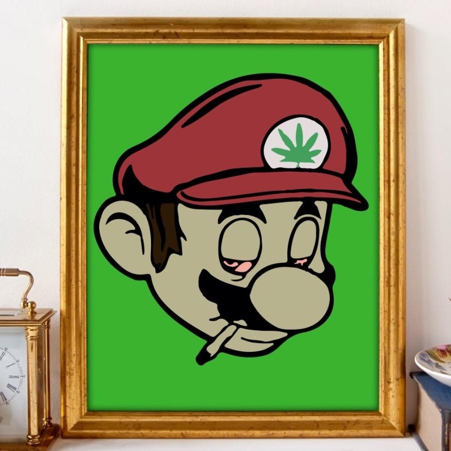 Well Known Stoner Mario, Gamer Art, Nintendo Art, Marijuana Art, Cannabis Art Inside Nintendo Wall Art (View 13 of 15)