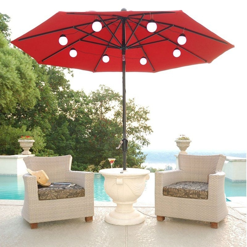 Well Known String Of Lights Attaches To An 8 Rib Patio Umbrella (View 15 of 15)