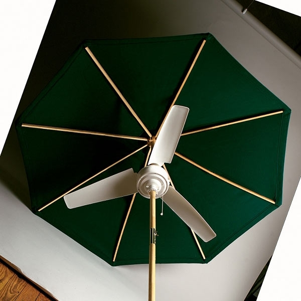 Well Known Summer Blast Umbrella Fan – The Green Head With Regard To Patio Umbrellas With Fans (View 2 of 15)