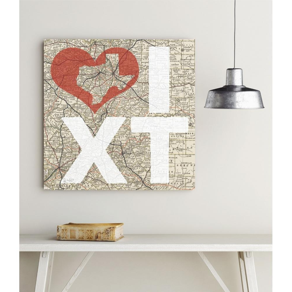 """Well-known Texas Wall Art for 16 In. X 16 In. """"i Love Texas"""" Canvas Wall Art-Web-T545 - The Home Depot"""