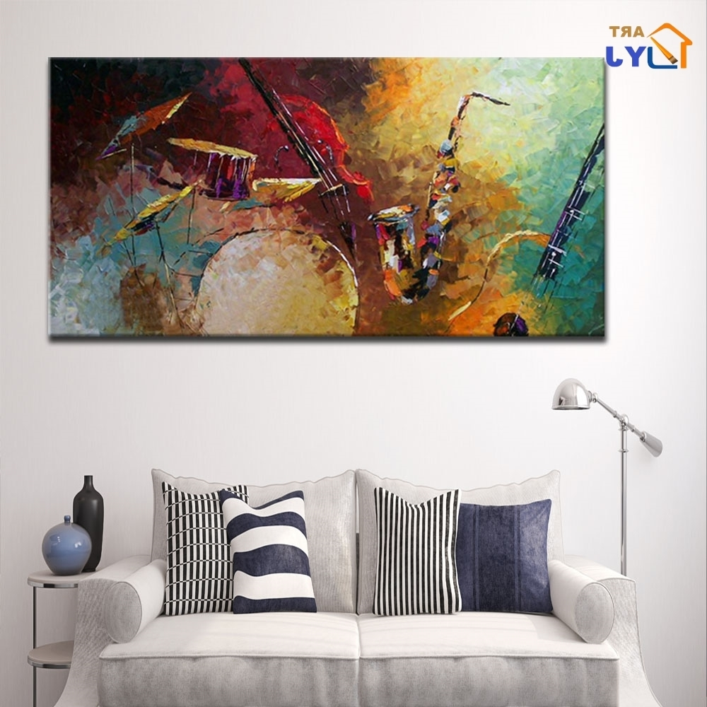 Well Known Textured Hand Painted Music Picture Modern Abstract Oil Painting On In Abstract Oil Painting Wall Art (View 15 of 15)