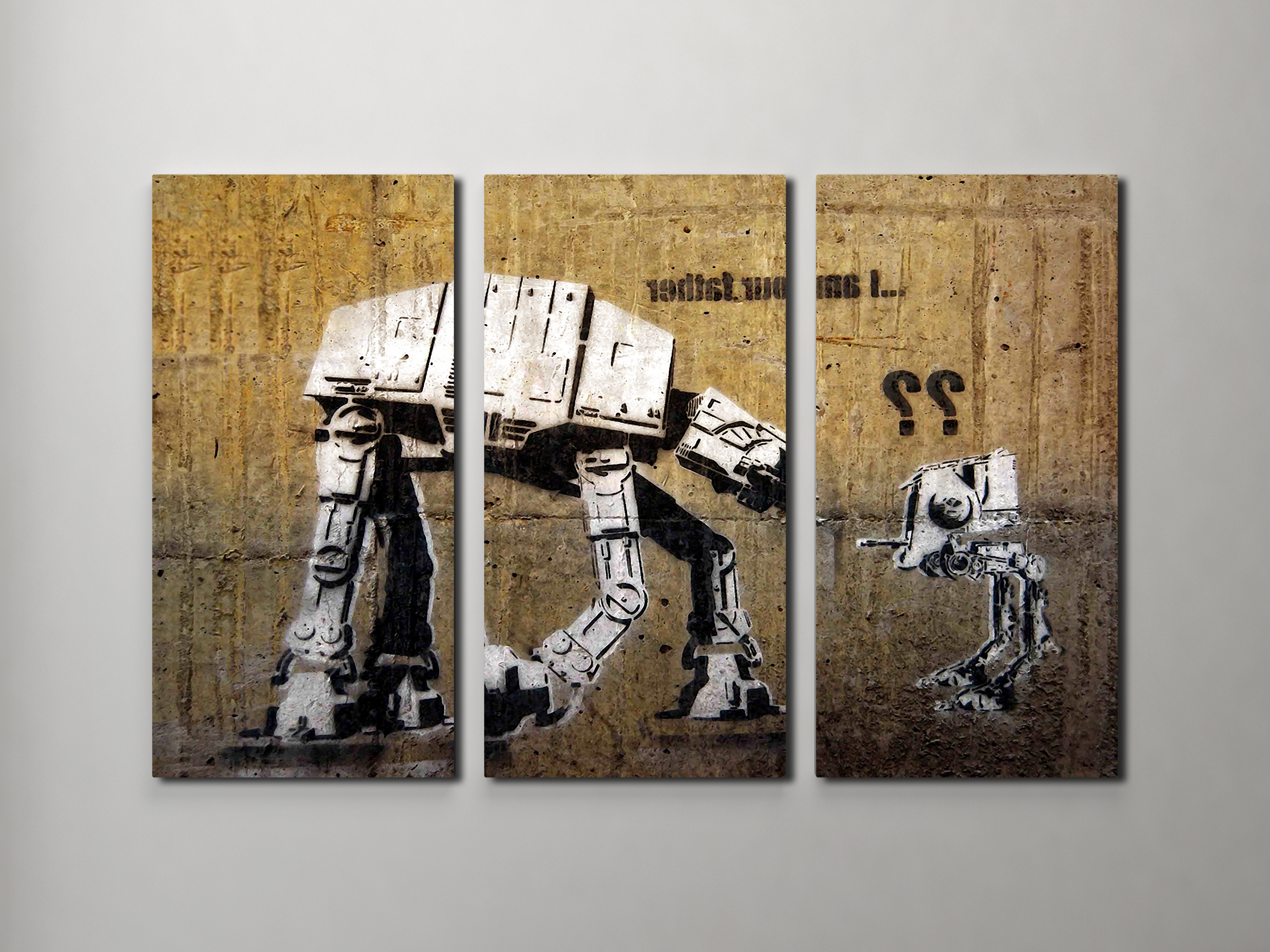 Well known Triptych Wall Art inside Banksy I Am Your Father (Star Wars) Triptych Canvas Wall Art