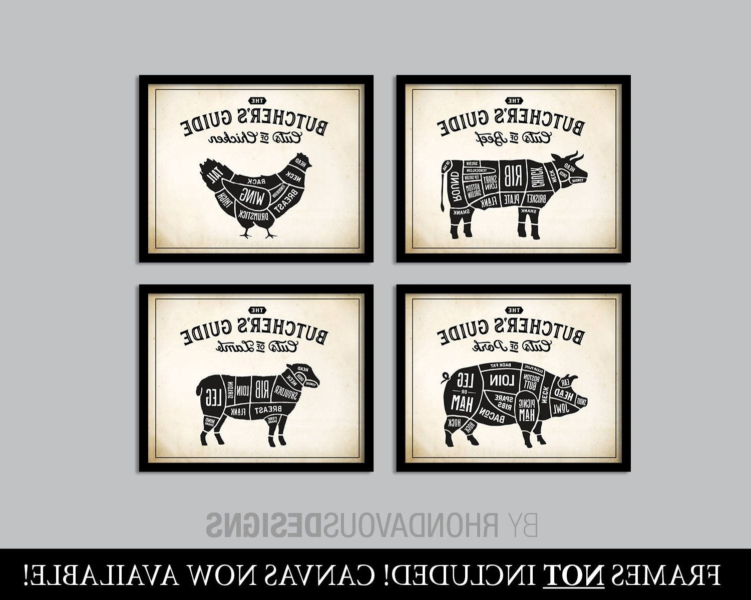 Well Known Wall Art For Kitchen With Regard To Kitchen Art. Butcher Chart. Butcher Diagram. Butcher Print (View 7 of 15)