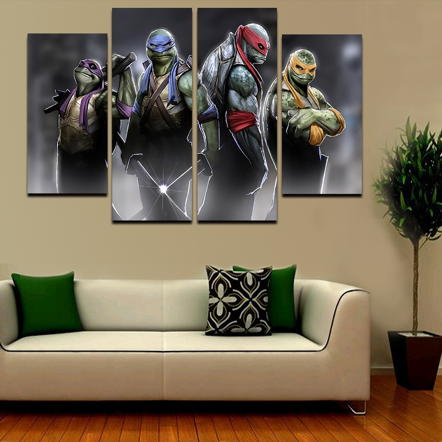 Well Liked 2016 5 Pcs Large Hd Teenage Mutant Ninja Turtles With Abstract In Ninja Turtle Wall Art (View 14 of 15)