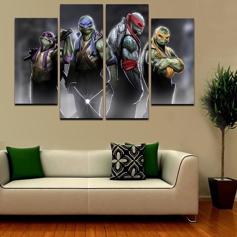 Well Liked 2016 5 Pcs Large Hd Teenage Mutant Ninja Turtles With Abstract In Ninja Turtle Wall Art (View 3 of 15)