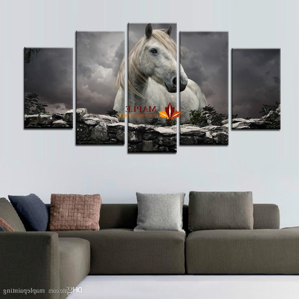 Well Liked 2018 5 Panels White Horse Print On Canvas Wall Painting Modern Inside Large Canvas Wall Art (View 14 of 15)