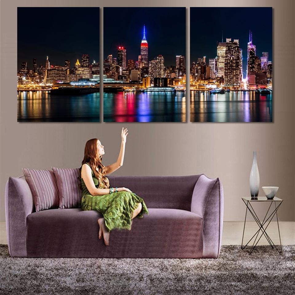 Well-liked 3 Piece/set Wall Art City Hall Night Lights Beside River Wall within 3 Piece Canvas Wall Art