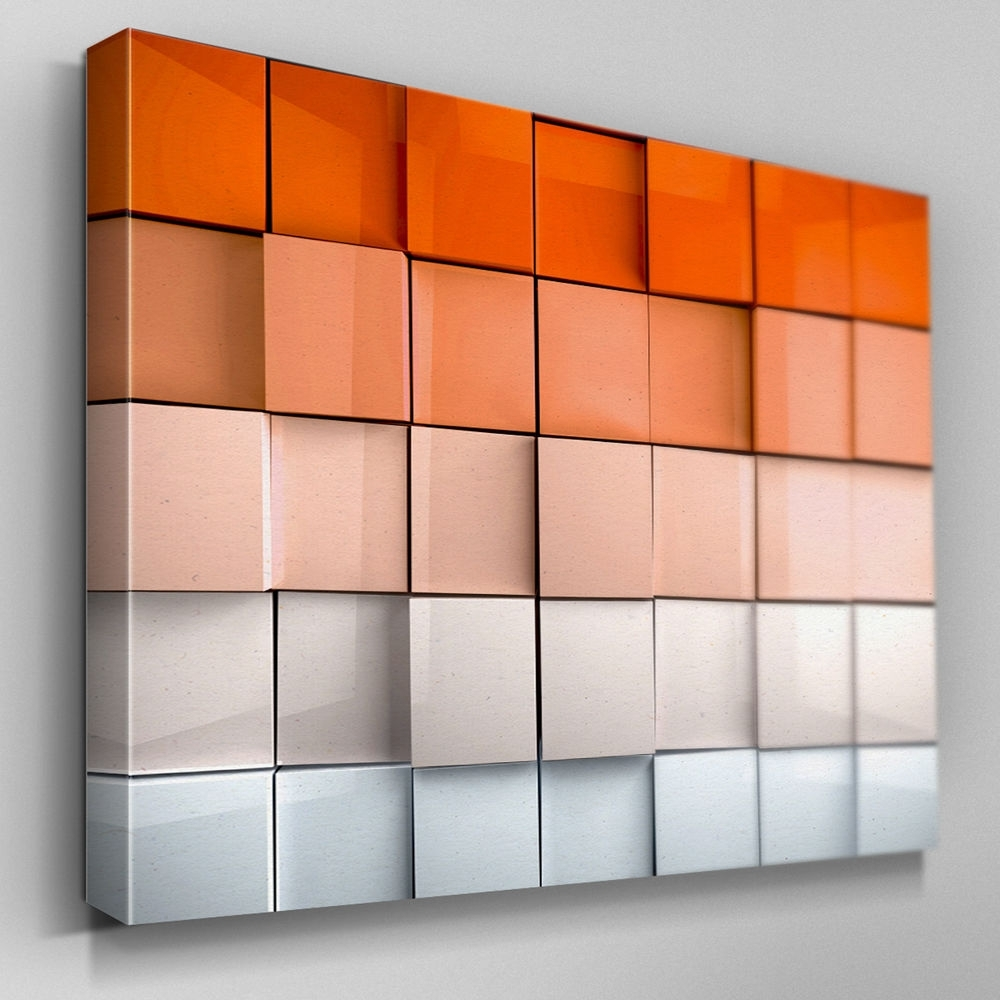 Well Liked Ab325 Orange Abstract Depth Canvas Wall Art Ready To Hang Picture With Regard To Orange Wall Art (View 15 of 15)