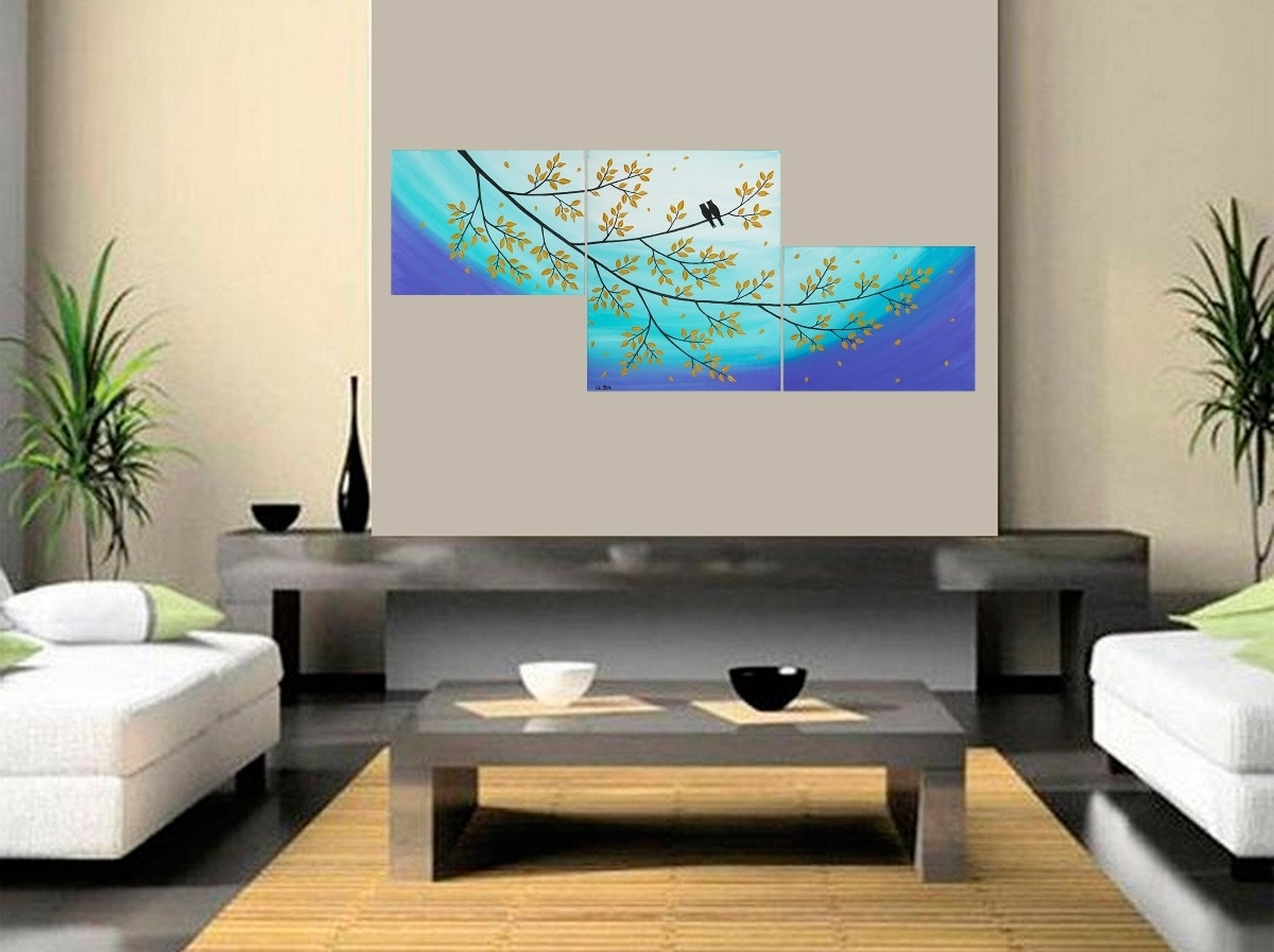 """Well Liked Acrylic Wall Art For Moonlight Sonataqiqigallery 48""""x20"""" Original Abstract Love Birds (View 15 of 15)"""