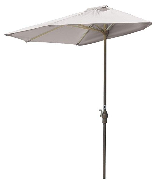 Well Liked Amazon : Blue Star Group Off The Wall Brella Natural Olefin Half For White Patio Umbrellas (View 10 of 15)