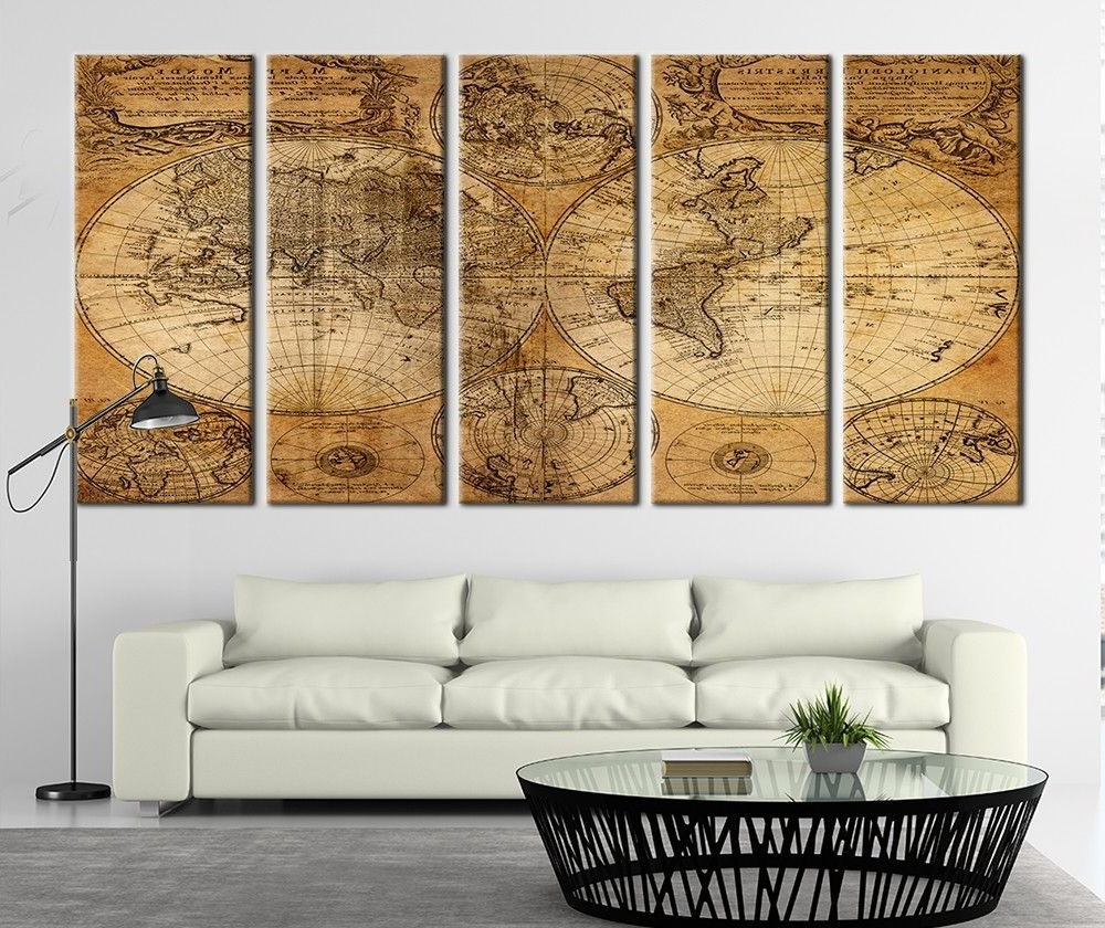 Well Liked Ancient World Map On Old Paper Canvas Art Print, World Map Canvas Regarding Map Wall Art Prints (View 13 of 15)