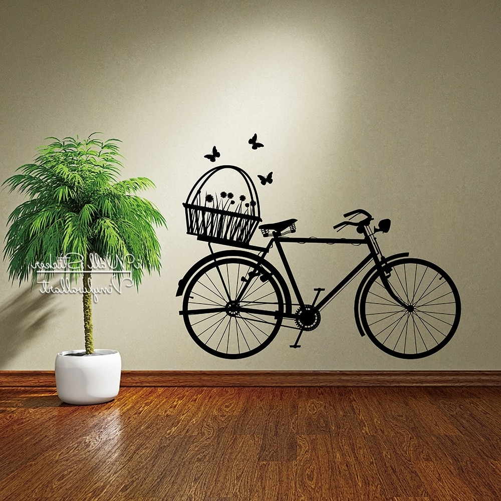 Well Liked Bicycle Wall Art Inside Bike Wall Sticker Modern Bike Flowers Wall Decal Diy Easy Wall Art (View 12 of 15)