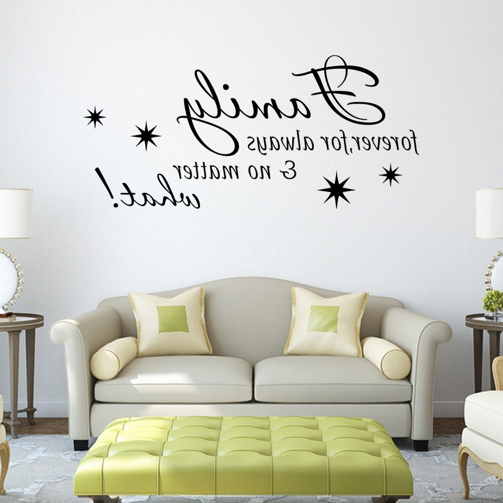 Well Liked Black Family Letter Quote Wall Stikers Office Living Room Decoration With Stick On Wall Art (View 13 of 15)