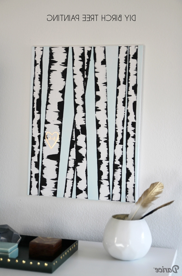 Well Liked Diy Wall Art: Birch Tree Painting Tutorial – Darice Intended For Diy Wall Art (View 7 of 15)