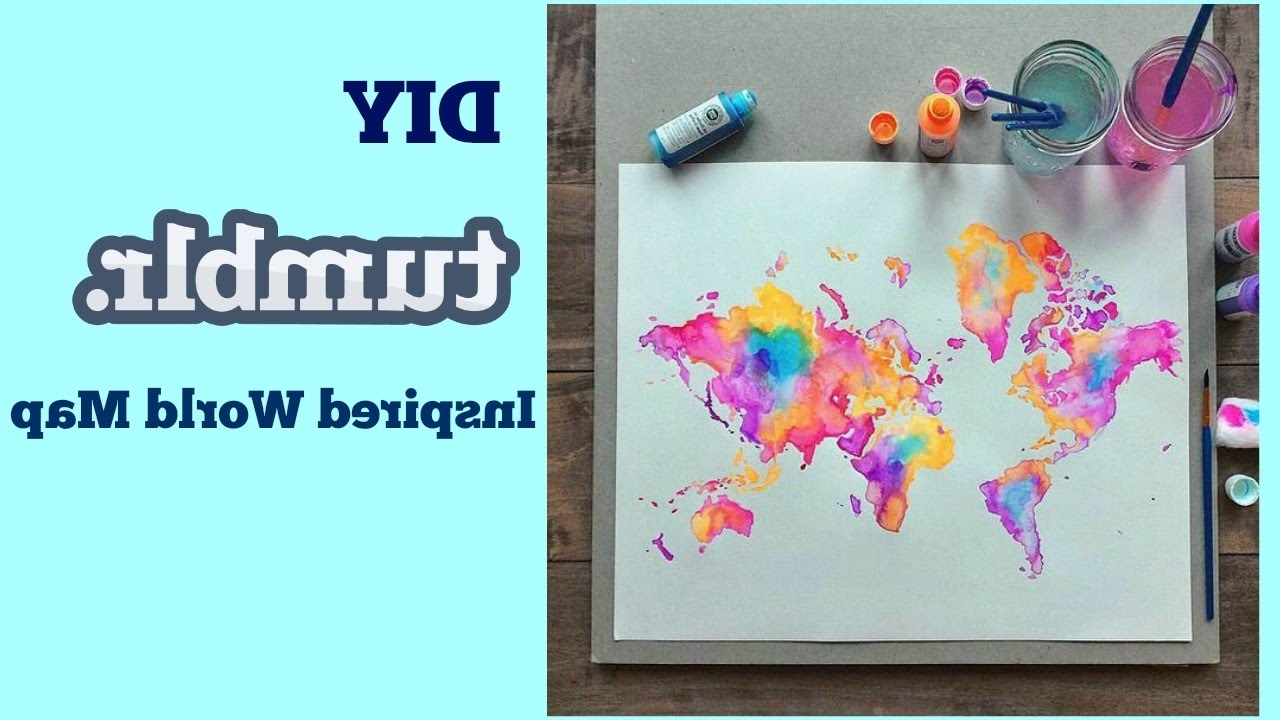 Well Liked Diy World Map Wall Art Throughout Diy Tumblr Inspired World Map – Youtube (View 13 of 15)