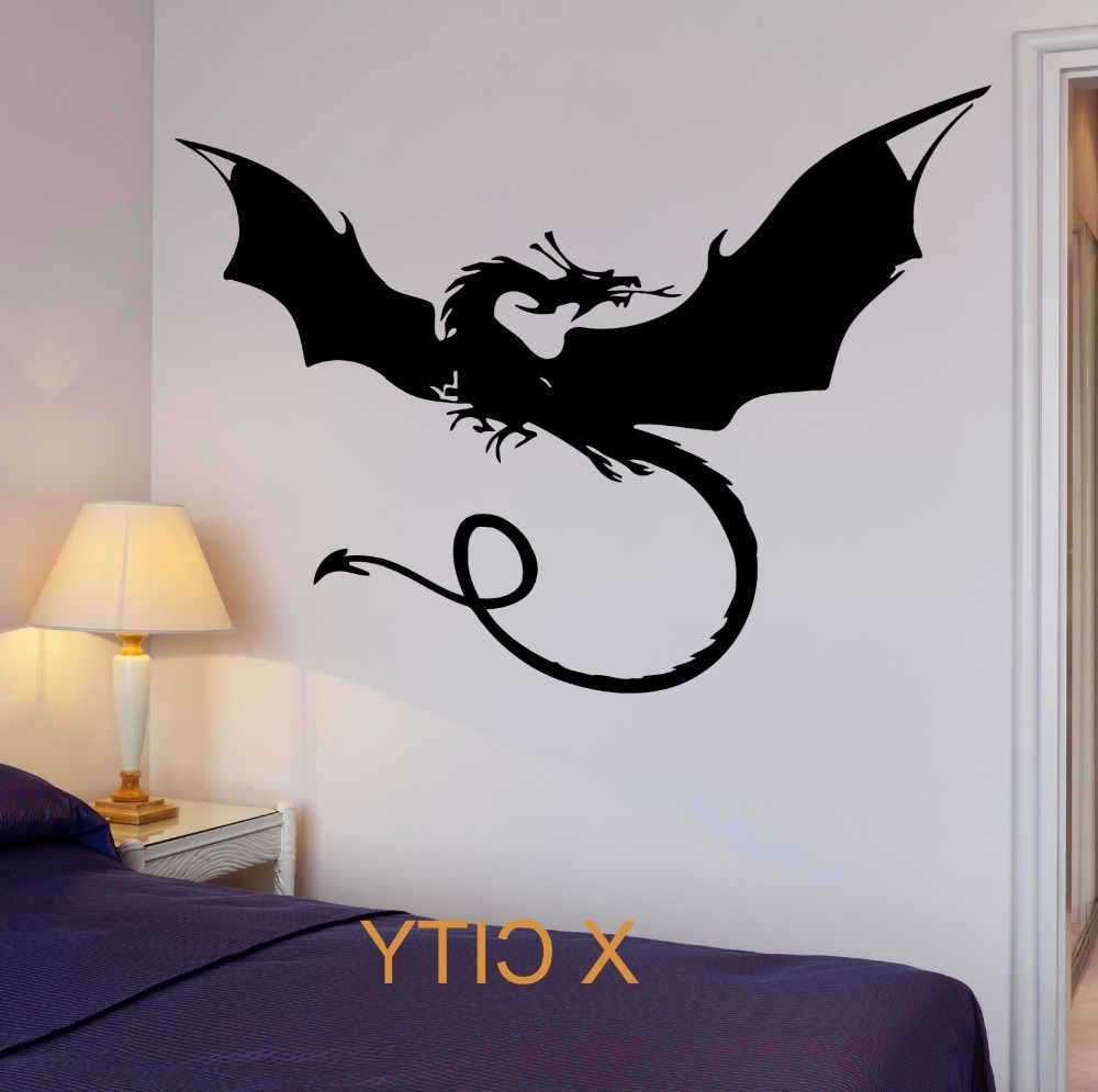 Well Liked Dragon Myth Movie Fantasy Monster Cool Kid Bedroom Wall Art Decal For Dragon Wall Art (View 15 of 15)
