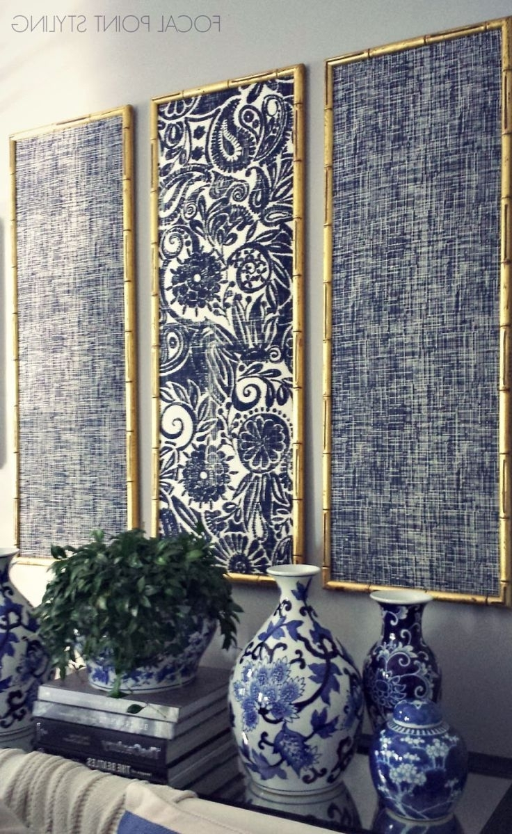 Well Liked Fabric Wall Art Regarding Diy Indigo Wall Art With Framed Fabric (View 13 of 15)