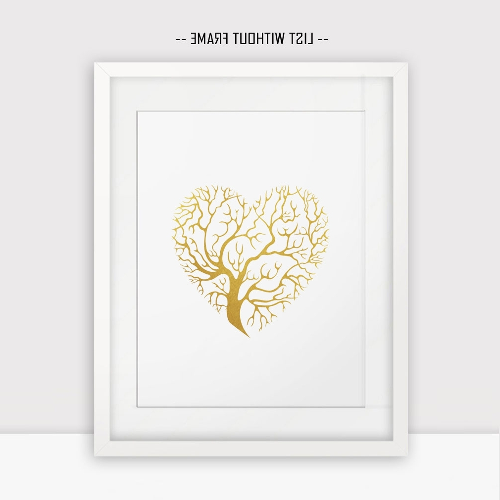 Well Liked Gold Foil Wall Art For Love Hearts Gold Foil Wall Print Golden Tree Wall Hanging Print (View 15 of 15)
