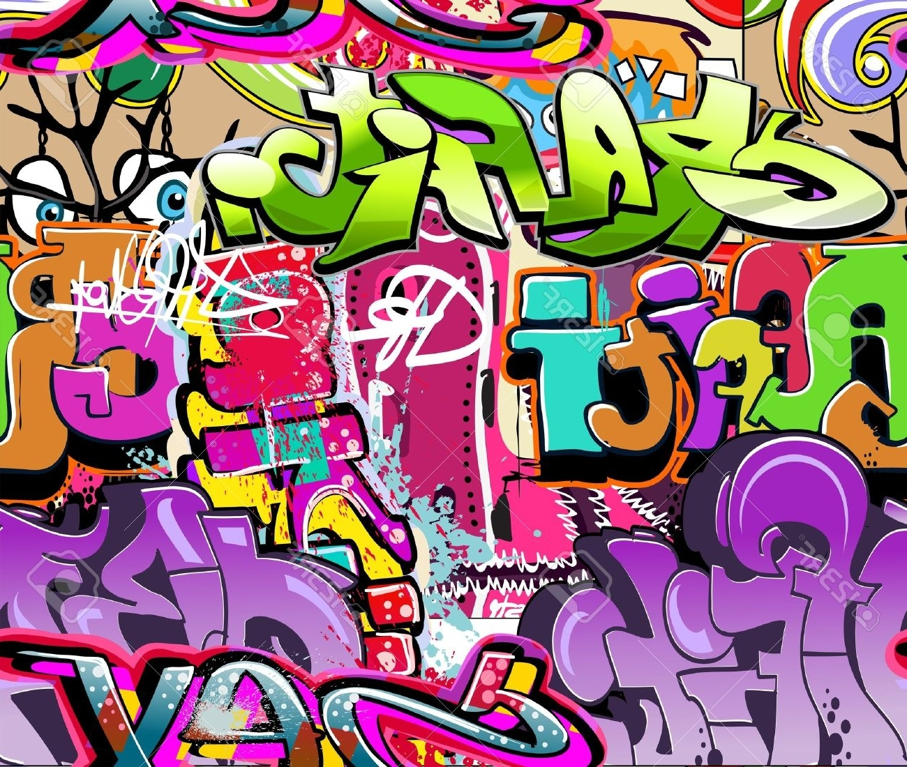 Well Liked Graffiti Wall. Urban Art Vector Background (View 12 of 15)